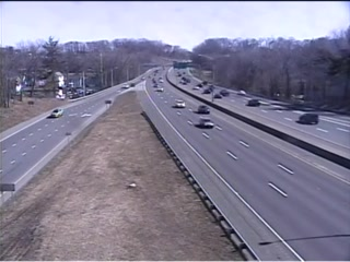 CAM 148 Danbury I-84 WB Exit 6 - Rt. 37 (North St.) (Traffic closest to the camera is traveling WEST) - USA