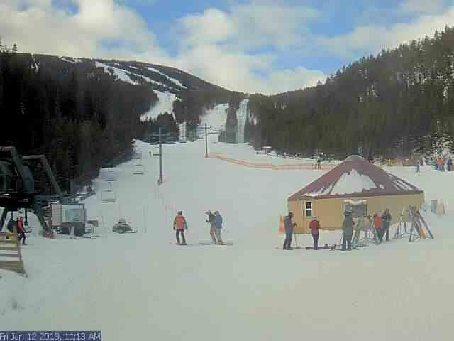 Red Lodge Mountain, MT - Main Lodge and offers a live view of the Triple Chair and the front side of the Mountain - Montana