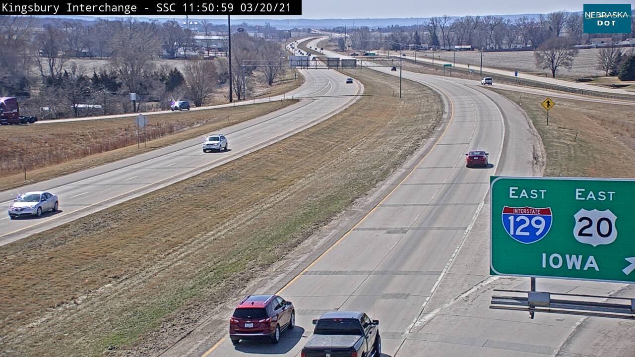 Jct at So Sioux City - 77 looking south - I-129 - USA