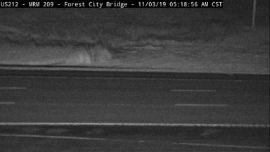 Forest City - US-212 at Forest City Bridge across Missouri River - Camera Looking West - South Dakota
